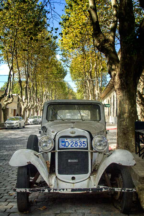 vintage car in street with colonial houses and trees