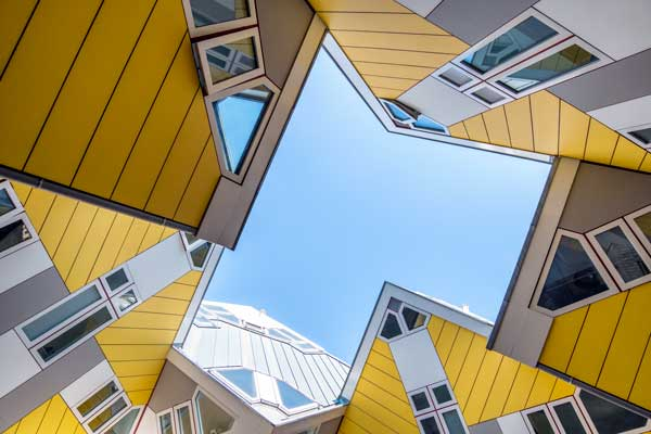 yellow and grey modern architecture of cube houses