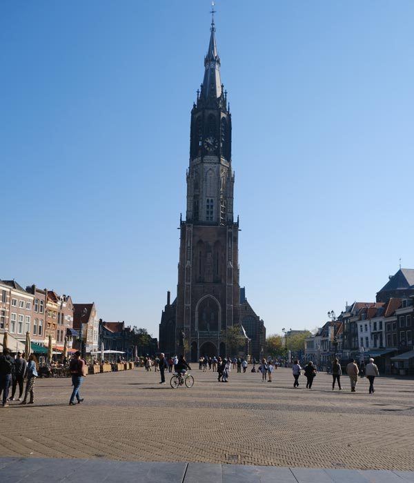 tall curch steeple seen during day trip to delft