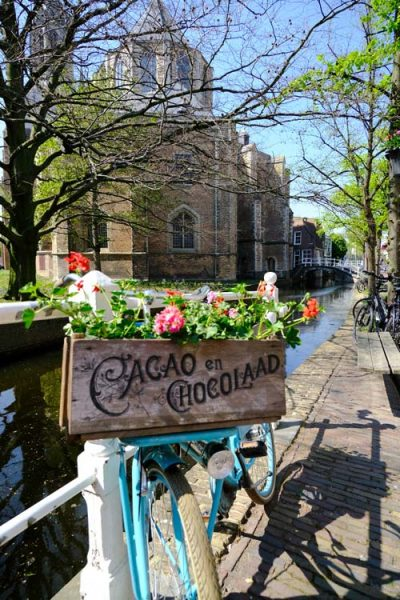 bicycle with flowers by side of canal