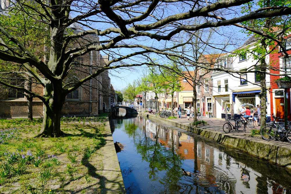 buildings lining the side of a canal in delft netherlands