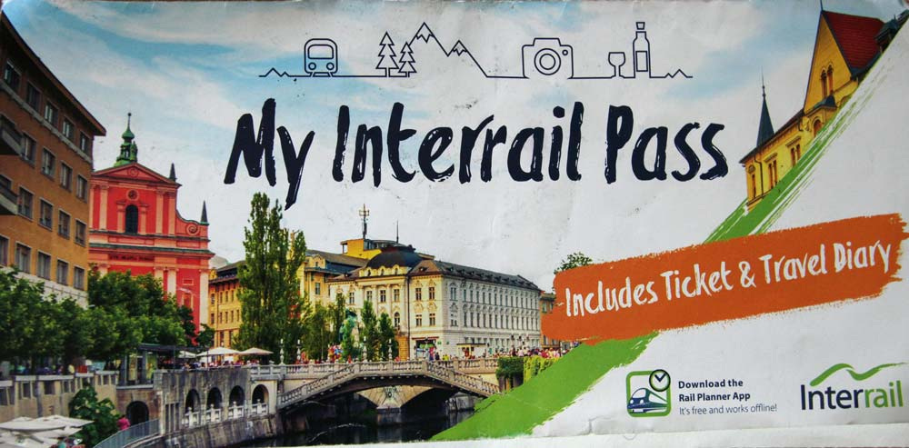exterior cover of an interrail pass which is one of train passes in europe
