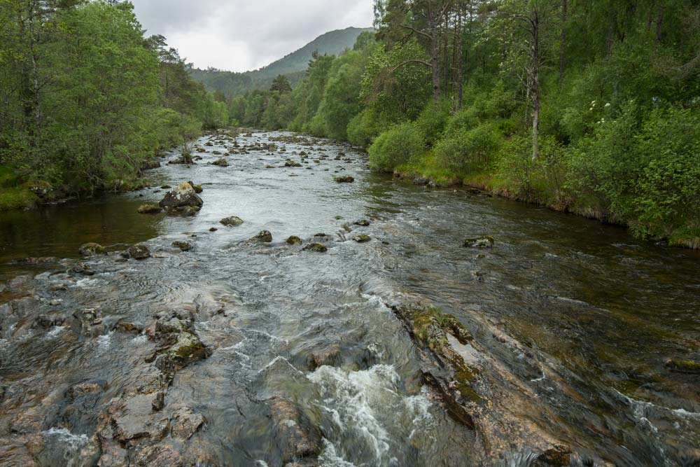 fast flowing water over rocks in river