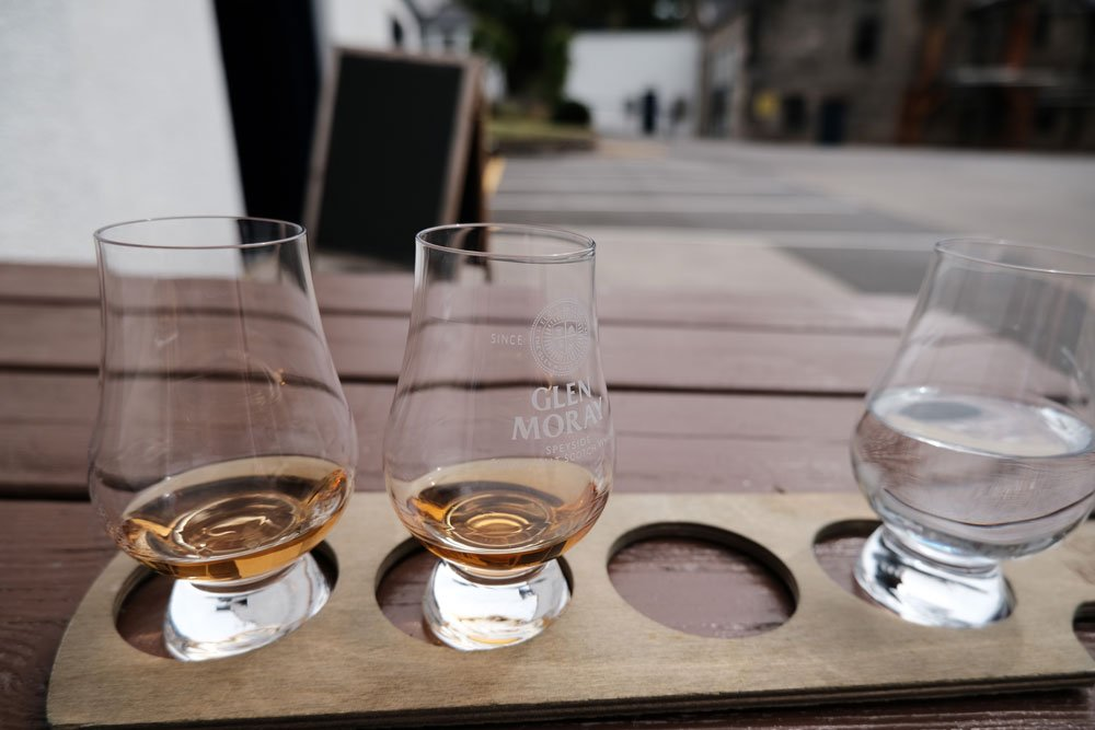 two glasses with a dram of whisky