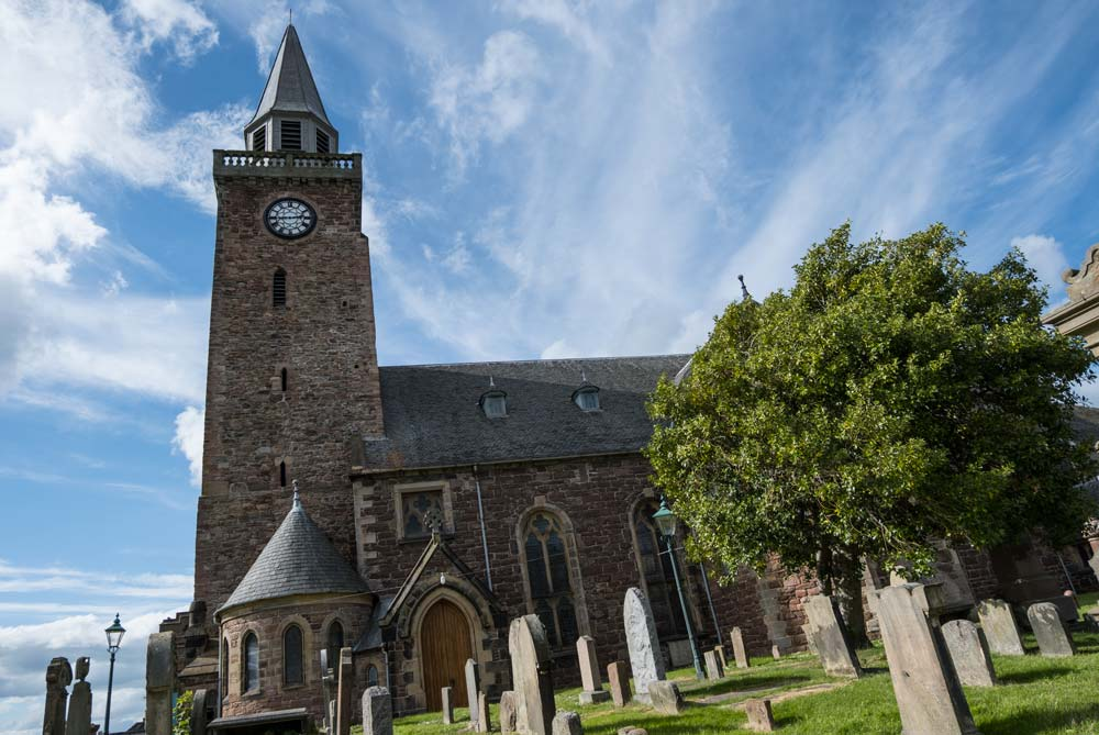 church building with graveyard in inverness scotland
