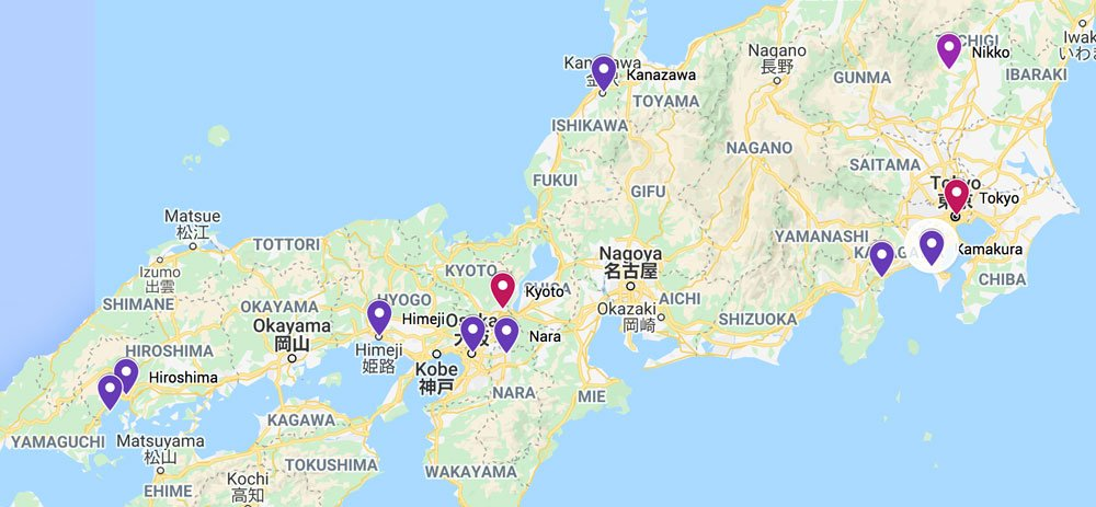 map of places on a 2-week japan itinerary for first-time visitors