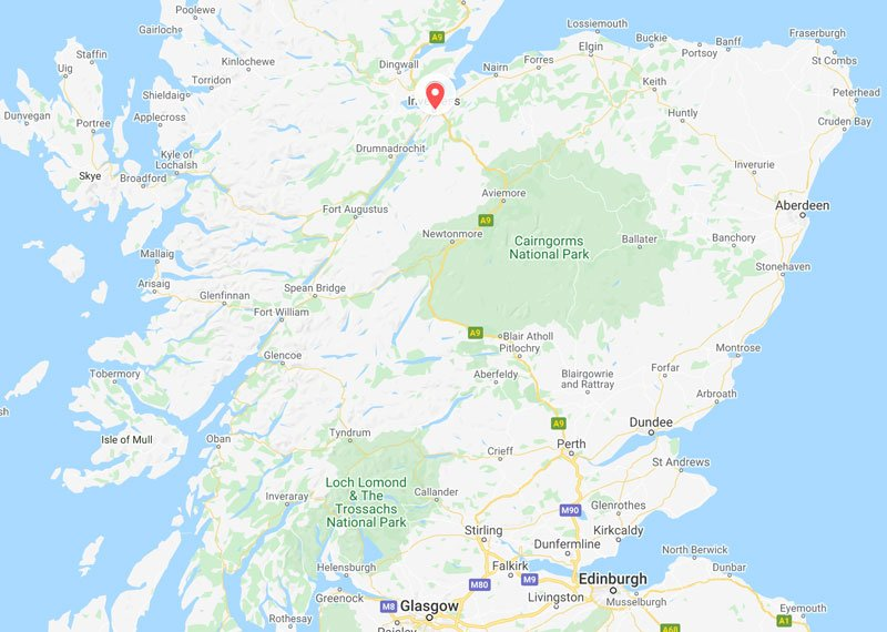 a map showing the location of inverness in scotland