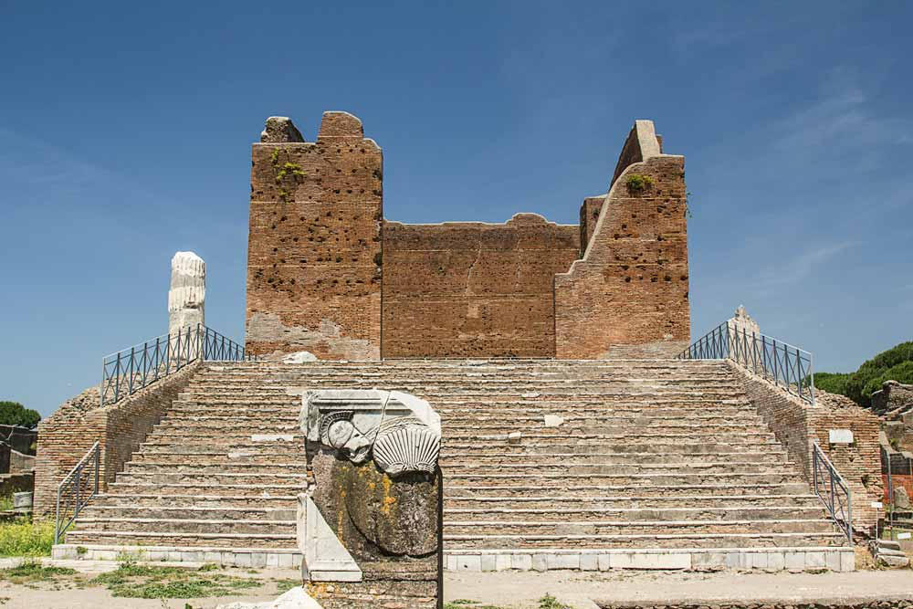 ancient roman ruins of steps leading to capitolium at Ostia antica rome