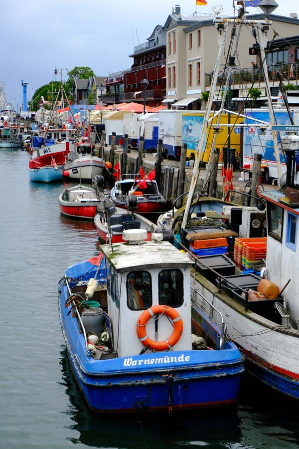 boats along busy Quayside in Warnemunde
