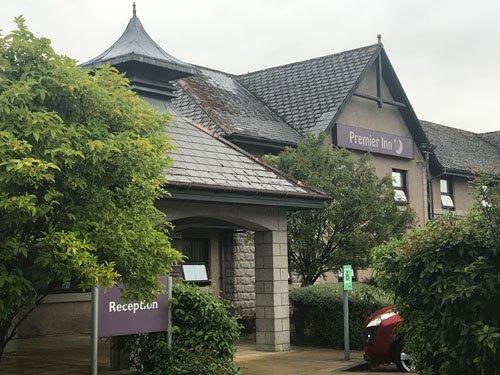 entrance to premier inn hotel in fort william scotland