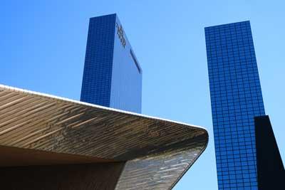 striking blue modern buildings