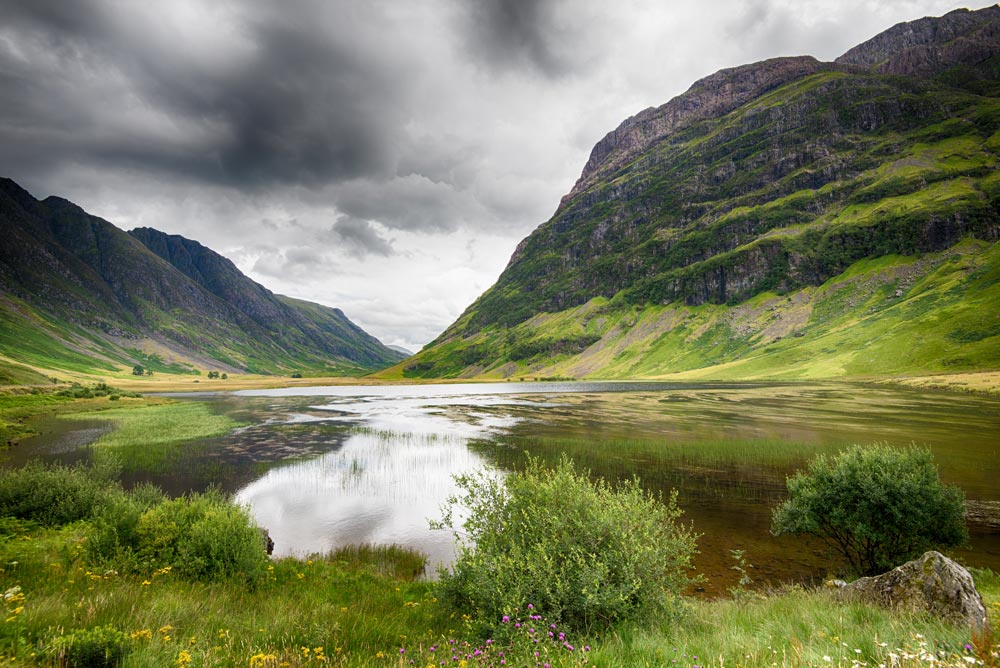 green valley with lake reached from fort william to glencoe