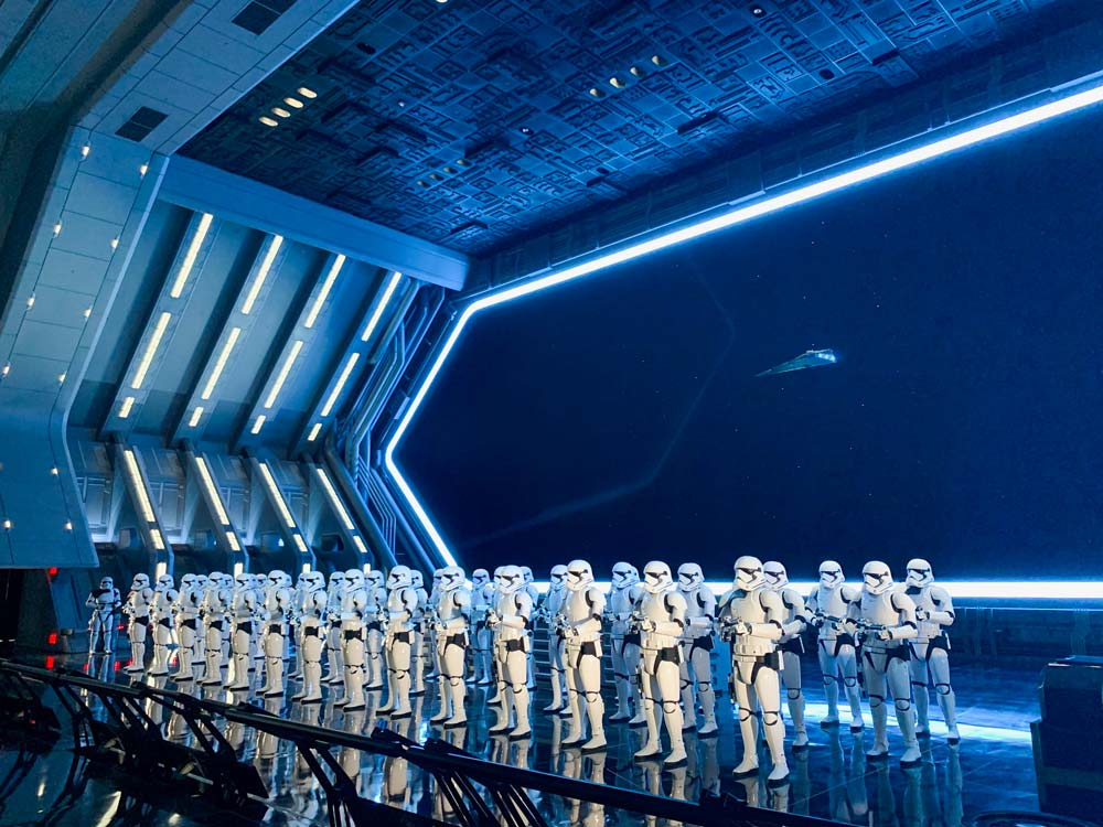 line of stormtroopers on a stage