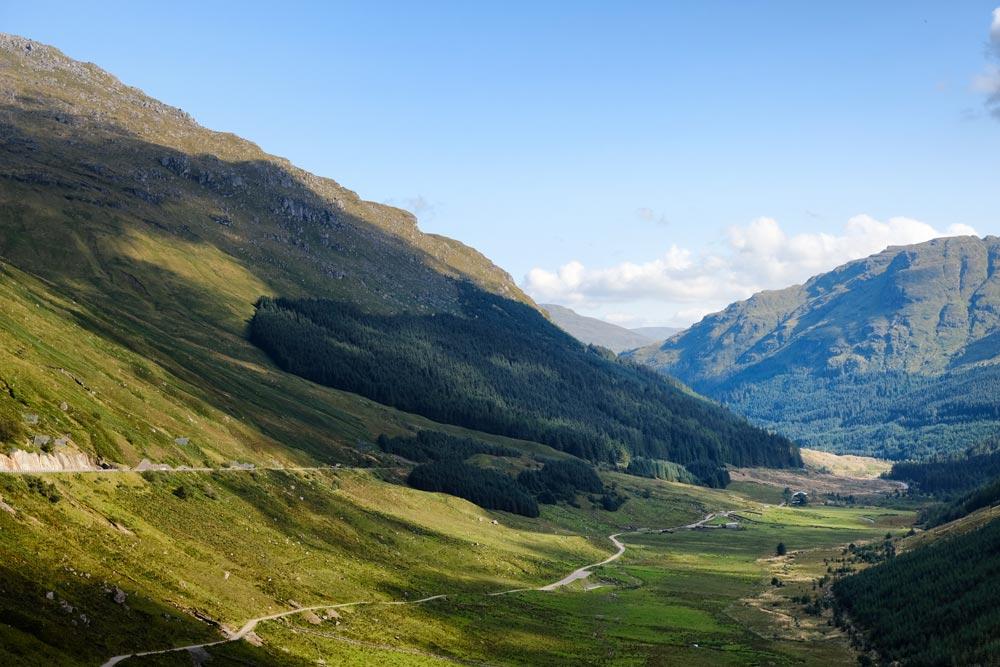 beautiful mountain valley in scotland