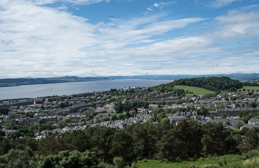 panoramic view of city of dundee with river