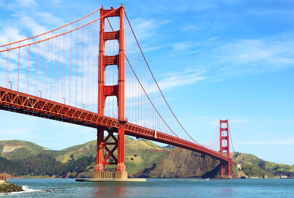 red pylons of golden gate bridge