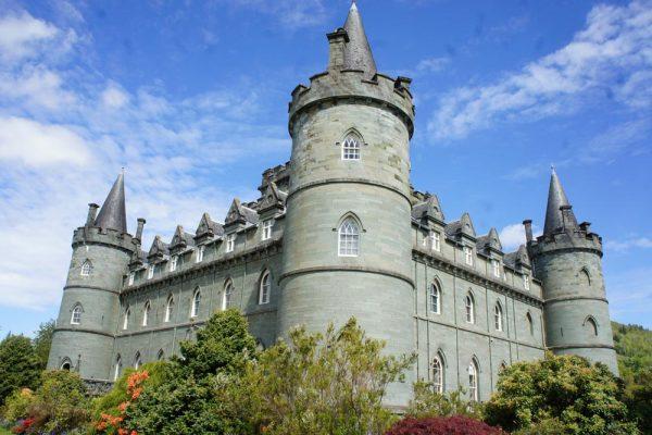 turrets of grey stones of inveraray castle in scotland