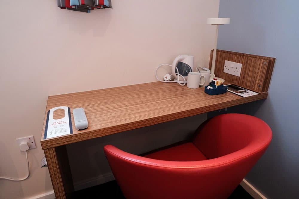 desk with red chair