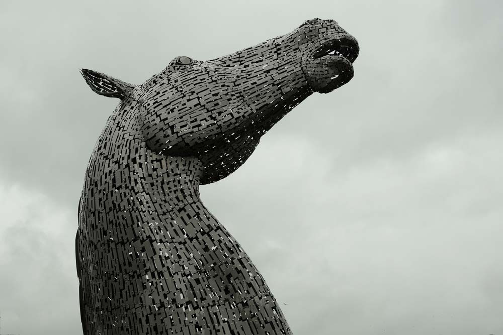 metal sculpture of horse