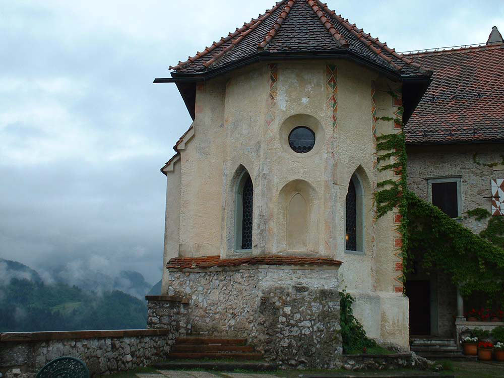 turret of ancient castle in bled slovenia