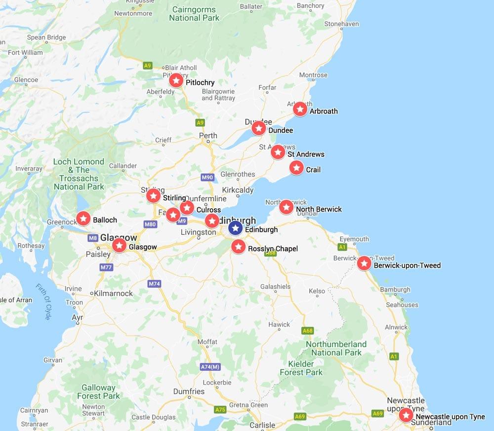 map showing the best day trips from edinburgh  scotland by bus coach or train