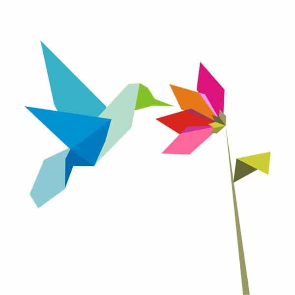 humming bird and flower origami