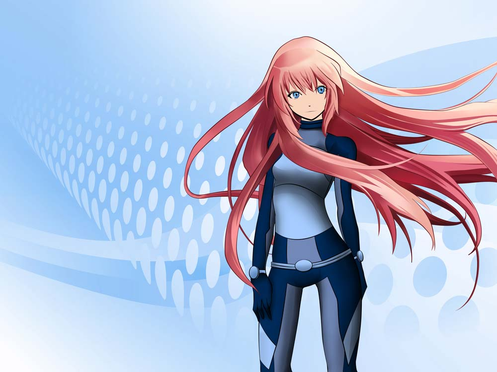 futuristic anime-girl with long red hair