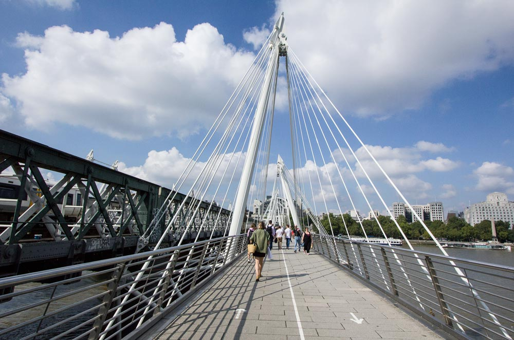 people walking across suspension bridge in london with white cables on a sunny day