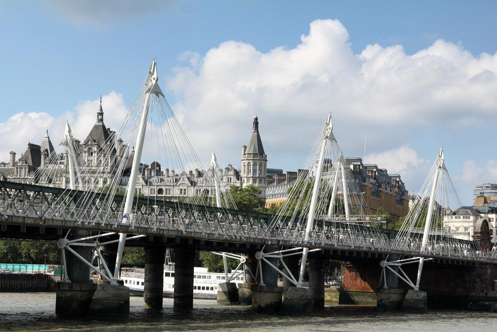 suspension bridge with adjacent railway bridge in london