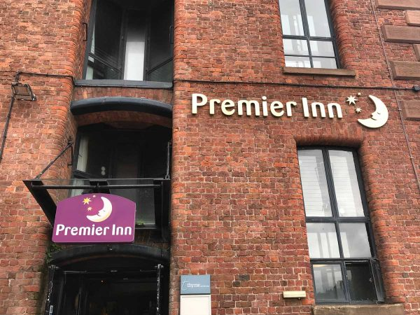 red brick exterior of premier inn albert dock hotel