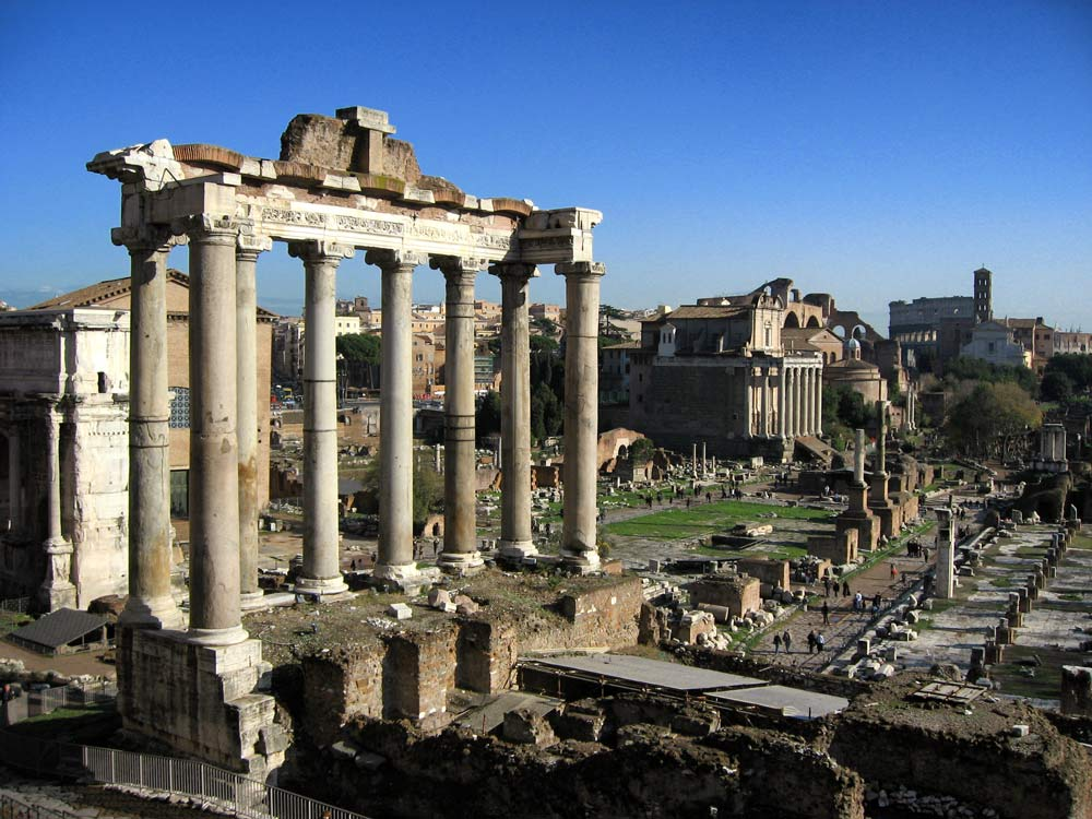 ancient roman ruins in the forum in rome italy