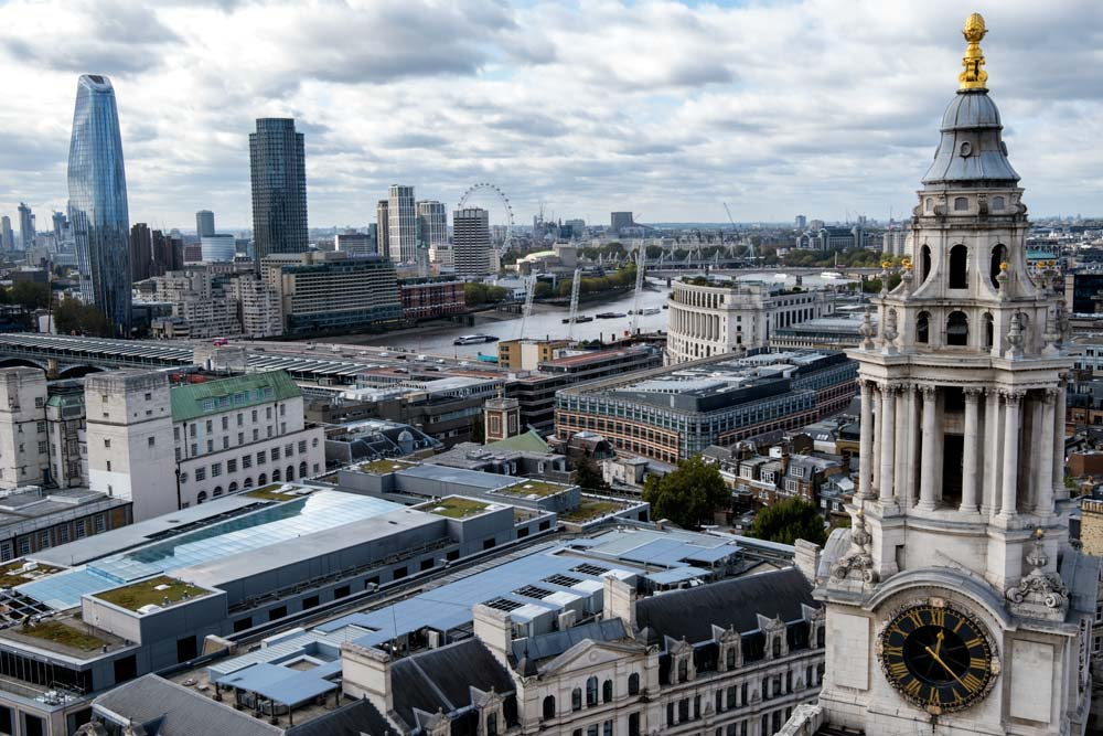 rooftops of londons iconic landmwarks including st pauls cathedral and the london eye