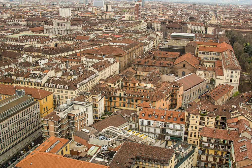 red rooftops of the city of turin