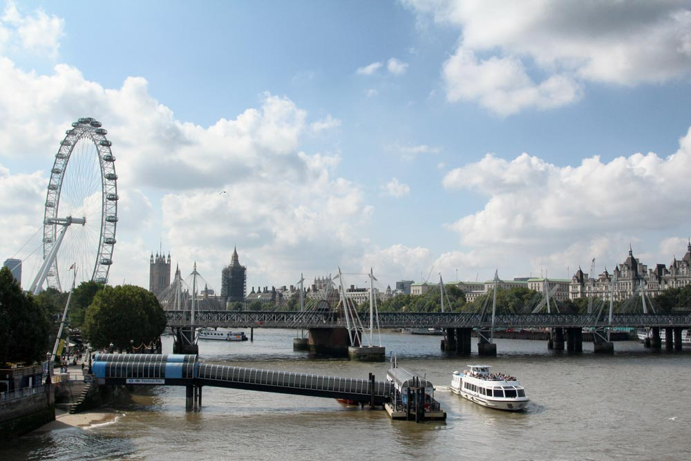 view across river thames in london with bridge london eye and the gothic palace of westminster