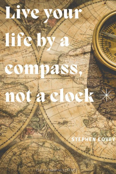 graphic of short travel quote with compass and maps